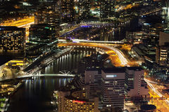 Aerial nightscape of Melbourne CBD Royalty Free Stock Images
