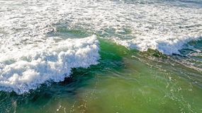 Aerial from ocean waves hitting the shore from the westcoast in. Portugal Royalty Free Stock Photos