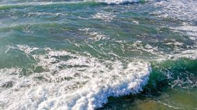 Aerial from ocean waves hitting the shore from the westcoast in. Portugal Stock Photography