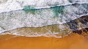 Aerial from ocean waves hitting the shore from the westcoast in. Portugal Stock Image