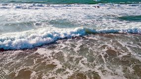 Aerial from ocean waves hitting the shore from the westcoast in. Portugal Royalty Free Stock Photography