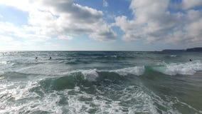 Aerial from ocean waves in Portugal stock footage
