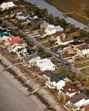 Aerial of oceanfront homes royalty free stock images