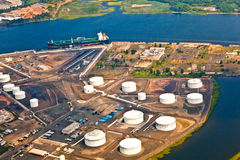 Aerial of Oil farm with river Royalty Free Stock Photography