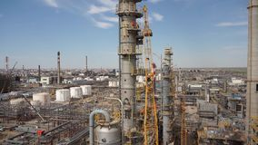 Aerial of oil refinery plant under construction 50p. Oil refinery - Industry plant. Panorama stock video footage
