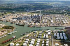 Aerial oil tankers storage terminal and oil refinery. Royalty Free Stock Photo