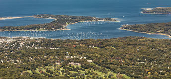 Aerial of Oister Bay in New York at long island lake Royalty Free Stock Photo
