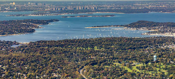 Aerial of Oister Bay in New York at long island lake Royalty Free Stock Photos
