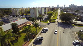 Aerial old architecture in Hallandale Florida stock footage