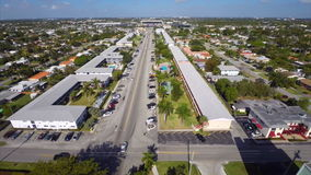 Aerial old architecture in Hallandale Florida stock video footage