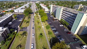 Aerial old architecture in Hallandale Florida 2 stock video footage