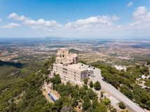 Aerial: The old benedictine monastery in Mallorca, Spain. Aerial: The old monastery on the Saint Salvador mountain in Mallorca, Spain Stock Photography