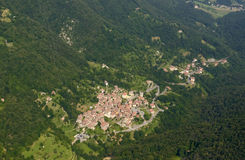 Aerial of Olera village, Orobie Stock Images