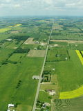 Aerial - Ontario. Tipical aerial view of green fields and farms, Ontario, Canada Royalty Free Stock Photos