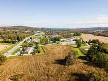 Aerial of Open Land off Route 30 in Gettysburg, Pennsylvnia in t. He Summer Stock Photography