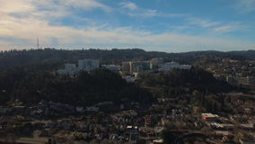 Aerial Oregon Portland OHSU stock video footage
