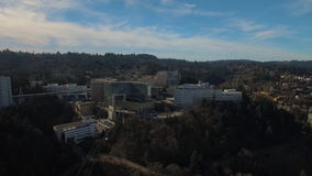 Aerial Oregon Portland OHSU stock footage