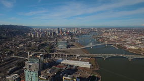 Aerial Oregon Portland South Waterfront stock video