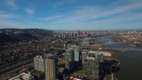Aerial Oregon Portland South Waterfront stock video footage