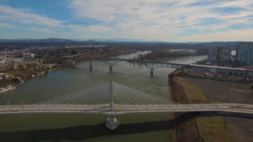 Aerial Oregon Portland Tillicum Bridge stock footage