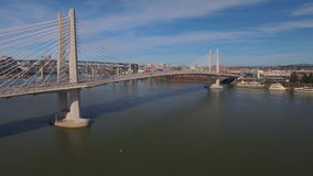 Aerial Oregon Portland Tillicum Bridge stock video