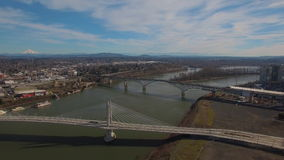Aerial Oregon Portland Tillicum Bridge stock video footage