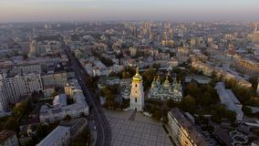 Aerial Orthodox Cathedral in Kyiv. Sophia Cathedral Kyiv. Ukraine stock video
