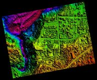 Aerial Orthorectified, Orthorectification Digital Elevation Model. Of Banos De Agua Santa San Martin Canyon Altitude Represented From Blue To Red stock illustration