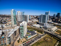 Aerial Over Austin Texas Modern Buildings and condominiums during sunny blue sky afternoon Royalty Free Stock Photos