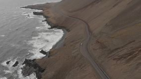 Aerial Over Car Driving Through Vast Icelandic Nature Landscape Beautiful stock footage