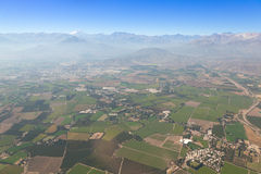 Aerial over Chile. Aerial panoramic of farming town on the outskirts of Santiago, Chile Stock Image