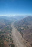 Aerial over Chile. Aerial panoramic of farming town on the outskirts of Santiago, Chile royalty free stock images