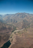 Aerial over Chile. Aerial panoramic of farming town on the outskirts of Santiago, Chile stock photo