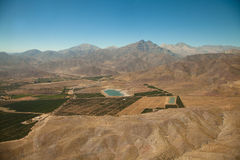 Aerial over Chile. Aerial panoramic of farming town on the outskirts of Santiago, Chile Royalty Free Stock Photography