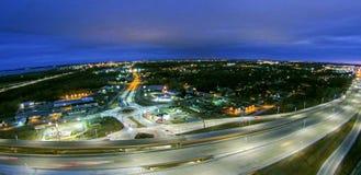 Aerial over highway interchange near green bay wisconsin Stock Photo