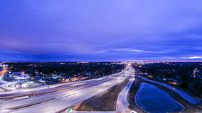 Aerial over highway interchange near green bay wisconsin royalty free stock photos