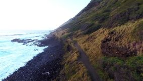 Aerial over Kaena Point Trail stock video