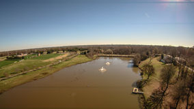 Aerial over a lake in rock hill south carolina Stock Photos