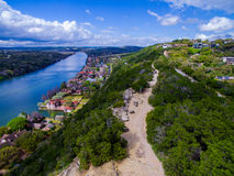 Aerial Over Mount Bonnell on a nice Summer Day overlooking Hill Top Trail Royalty Free Stock Images