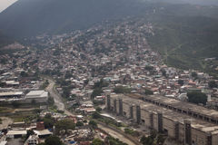 Aerial over slums of Caracas, Venezuela Royalty Free Stock Photo
