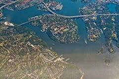 Aerial over Stockholm Essingeleden Traneberg bridge. STOCKHOLM, SWEDEN - JUNE 1, 2018: Aerial shot over Stockholm, Essingeleden and Traneberg bridge to Bromma royalty free stock images