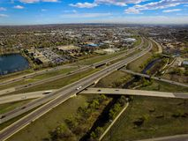 Highway I70, Arvada, Colorado. Aerial over traffic on Highway I70 in rural Arvada, Colorado on sunny day Royalty Free Stock Photography
