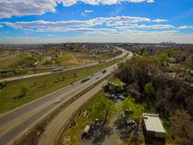 Highway I70, Arvada, Colorado. Aerial over traffic on Highway I70 in rural Arvada, Colorado on sunny day Stock Images