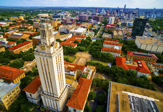 Aerial Over UT Tower University of Austin Cityscape Royalty Free Stock Photography