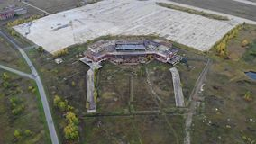 Aerial view on old abandoned airport and runaway stock footage