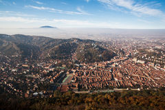 Aerial overhead of Brasov City Stock Photos