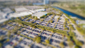 Aerial overhead view of big and crowded car parking.  Stock Photos