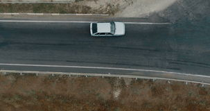 Aerial overlooking the hiway with cars, trucks and other transport. stock video