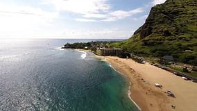Aerial overlooking Makaha Beach stock video