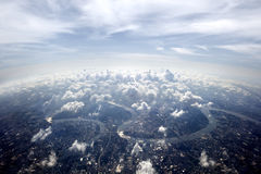 Aerial overview Bangkok cityscape. Town scenery above the clouds stock images
